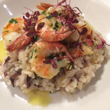 Sicilian style risotto with radicchio and tiger prawns